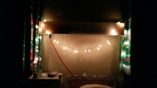 Hospital bed with fairy lights